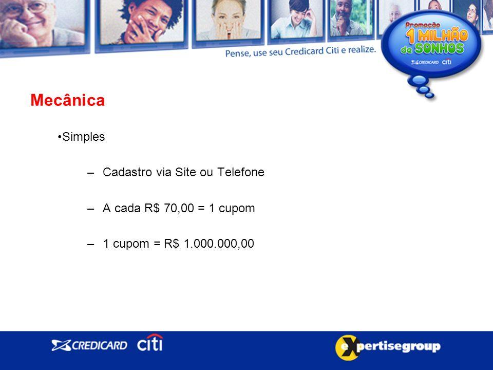 Simples –Cadastro via Site ou Telefone –A cada R$ 70,00 = 1 cupom –1 cupom = R$ 1.000.000,00 Mecânica