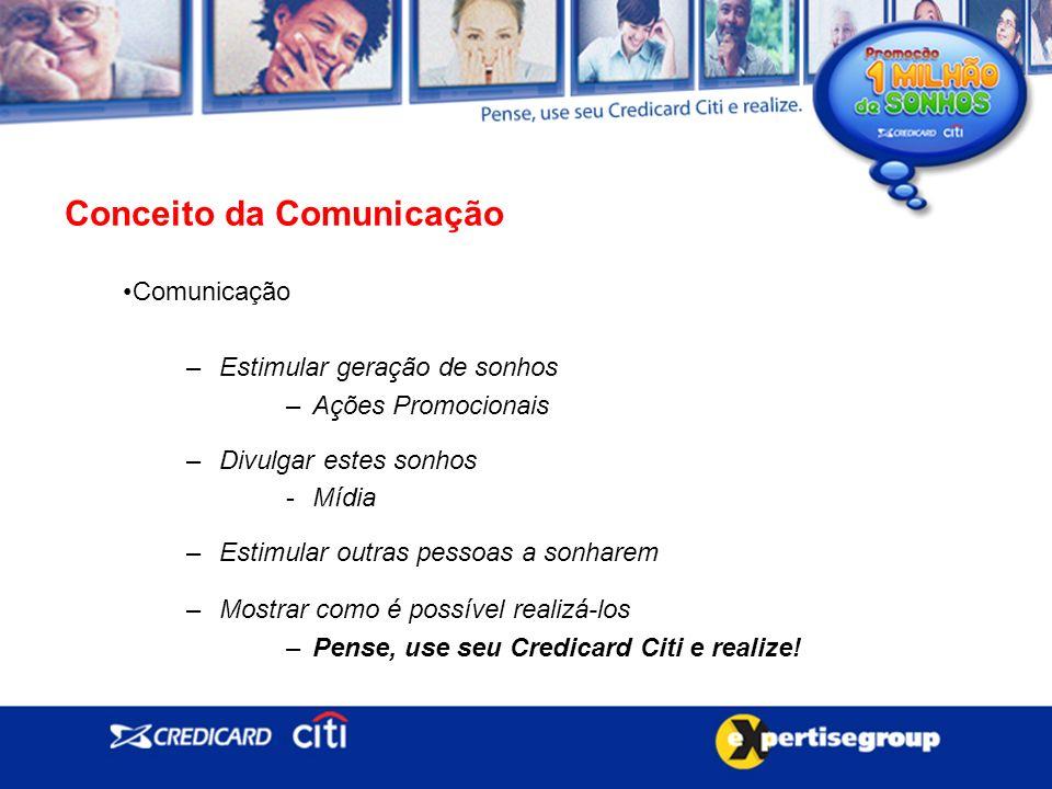 Comunicação –Estimular geração de sonhos –Ações Promocionais –Divulgar estes sonhos -Mídia –Estimular outras pessoas a sonharem –Mostrar como é possível realizá-los –Pense, use seu Credicard Citi e realize.