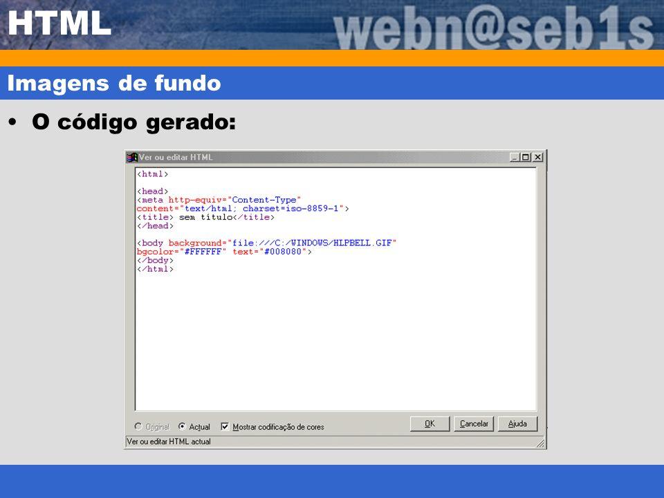 HTML Imagens de fundo O código gerado: