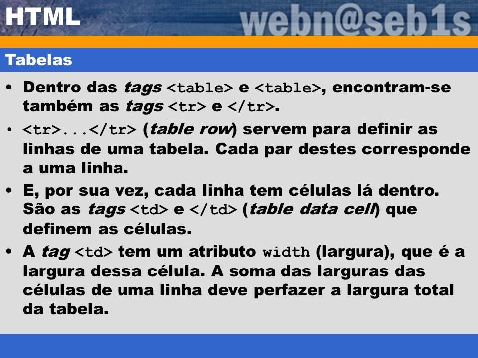 HTML Tabelas Dentro das tags e, encontram-se também as tags e.... (table row) servem para definir as linhas de uma tabela. Cada par destes corresponde