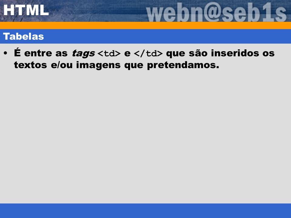 HTML Tabelas É entre as tags e que são inseridos os textos e/ou imagens que pretendamos.