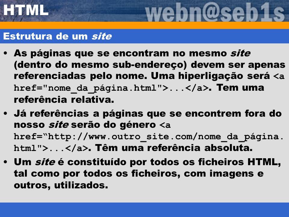 HTML Estrutura de um site As páginas que se encontram no mesmo site (dentro do mesmo sub-endereço) devem ser apenas referenciadas pelo nome. Uma hiper