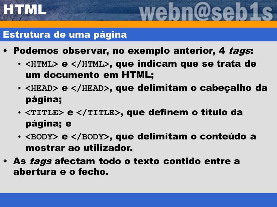 HTML Estrutura de uma página Podemos observar, no exemplo anterior, 4 tags: e, que indicam que se trata de um documento em HTML; e, que delimitam o ca
