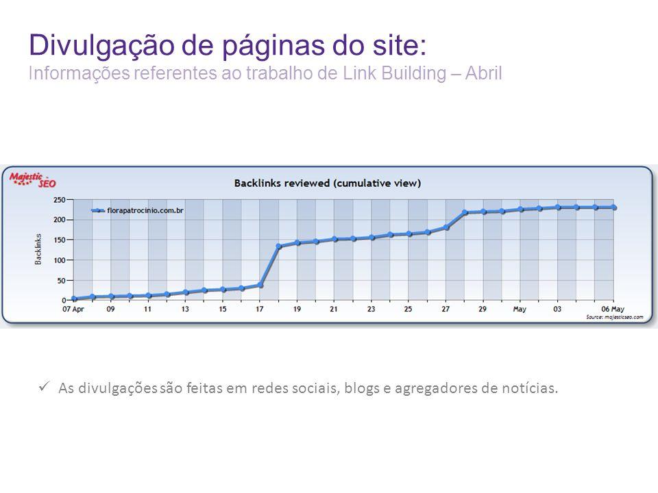 Divulgação de páginas do site: Informações referentes ao trabalho de Link Building – Abril As divulgações são feitas em redes sociais, blogs e agregadores de notícias.