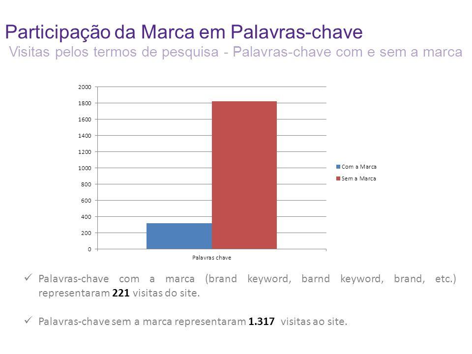 Participação da Marca em Palavras-chave Visitas pelos termos de pesquisa - Palavras-chave com e sem a marca Palavras-chave com a marca (brand keyword, barnd keyword, brand, etc.) representaram 221 visitas do site.