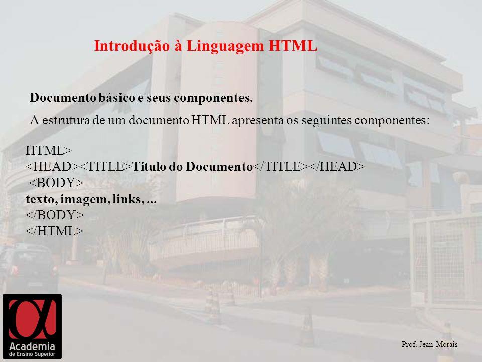 Prof. Jean Morais Introdução à Linguagem HTML Documento básico e seus componentes. A estrutura de um documento HTML apresenta os seguintes componentes