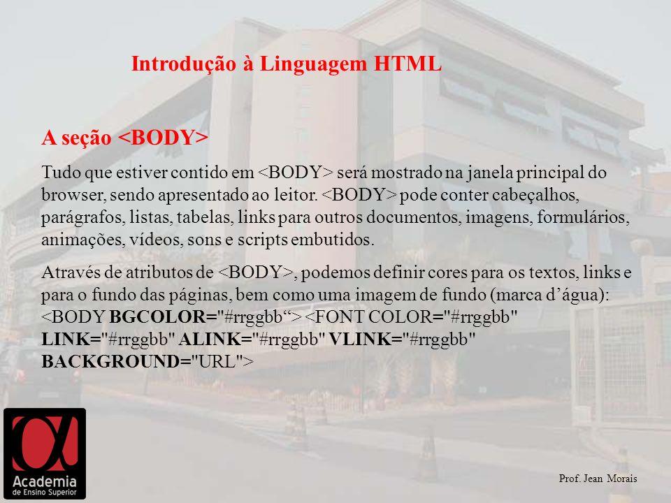 Prof. Jean Morais Introdução à Linguagem HTML A seção Tudo que estiver contido em será mostrado na janela principal do browser, sendo apresentado ao l