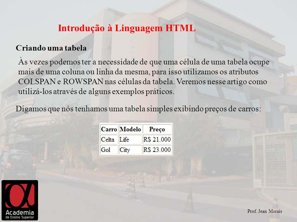 Prof. Jean Morais Introdução à Linguagem HTML Criando uma tabela Às vezes podemos ter a necessidade de que uma célula de uma tabela ocupe mais de uma