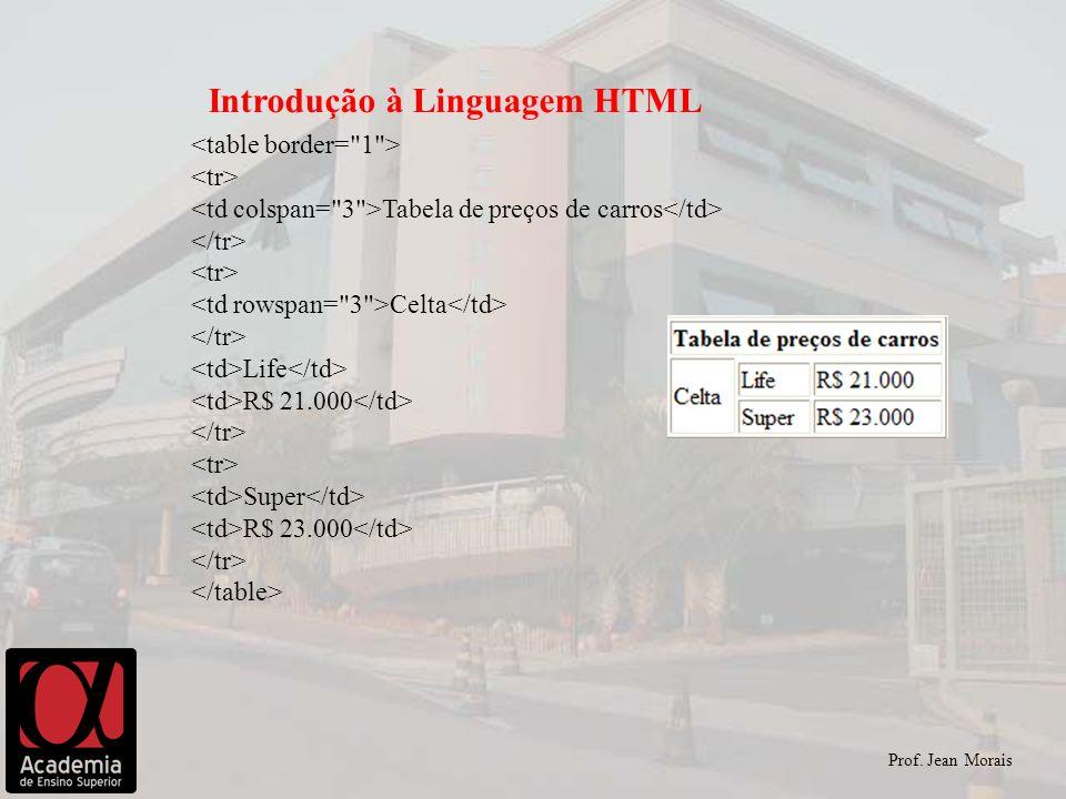 Prof. Jean Morais Introdução à Linguagem HTML Tabela de preços de carros Celta Life R$ 21.000 Super R$ 23.000