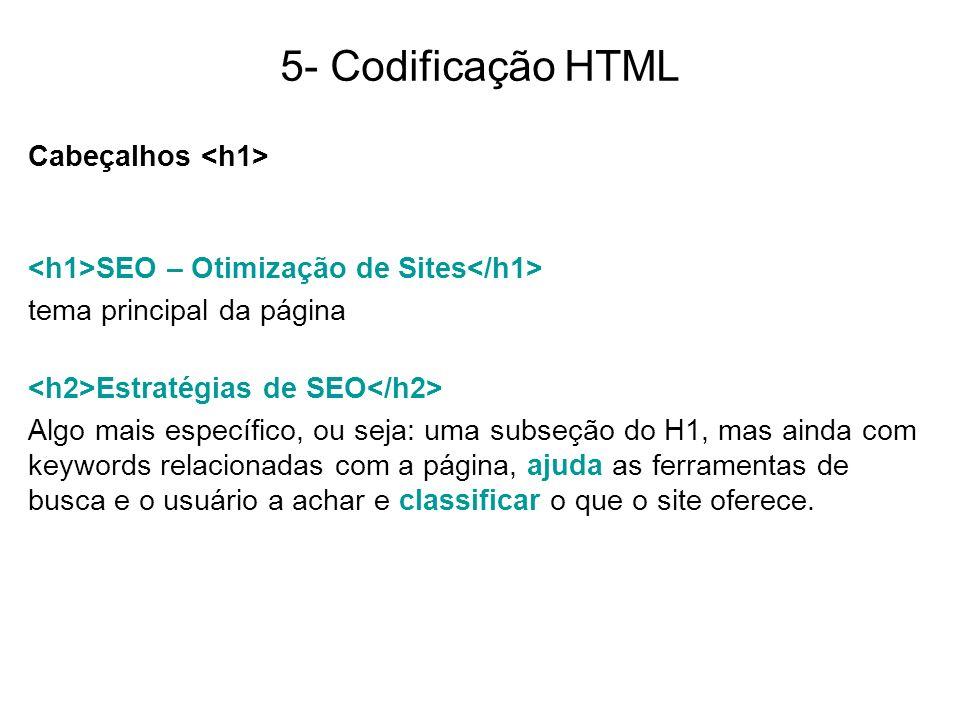 5- Codificação HTML Cabeçalhos SEO – Otimização de Sites tema principal da página Estratégias de SEO Algo mais específico, ou seja: uma subseção do H1