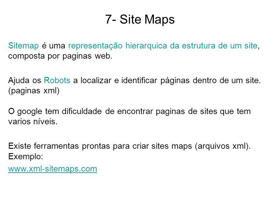 7- Site Maps Sitemap é uma representação hierarquica da estrutura de um site, composta por paginas web. Ajuda os Robots a localizar e identificar pági