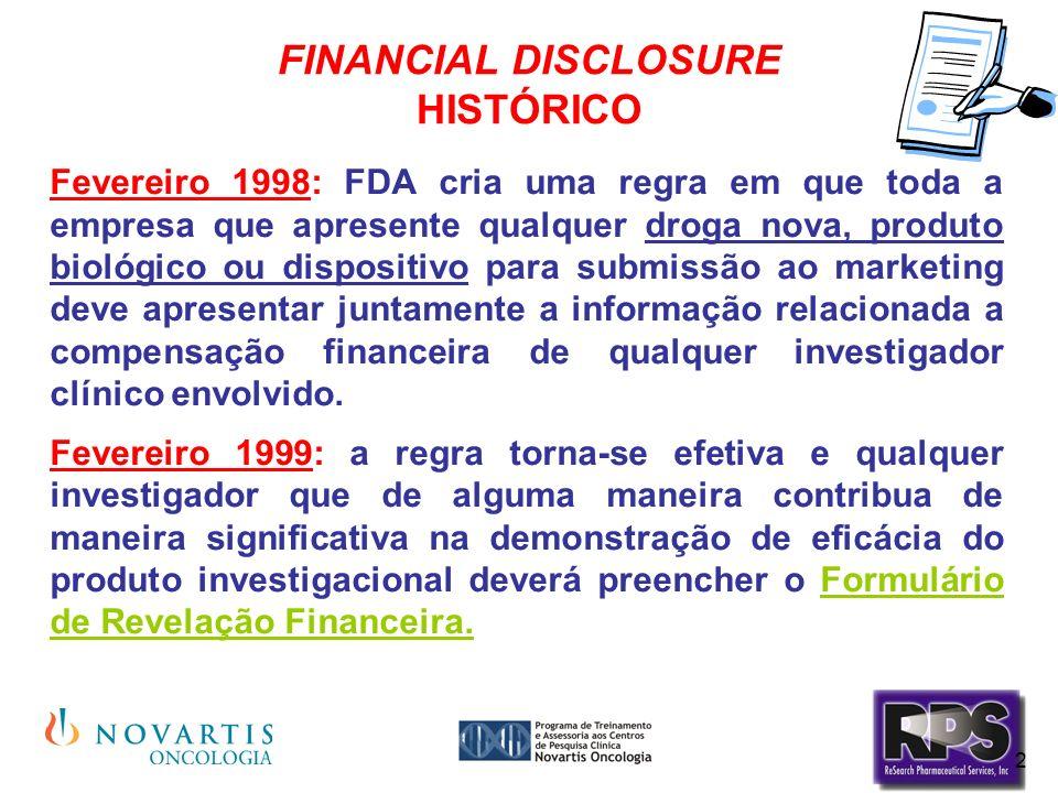 2 FINANCIAL DISCLOSURE HISTÓRICO Fevereiro 1998: FDA cria uma regra em que toda a empresa que apresente qualquer droga nova, produto biológico ou disp