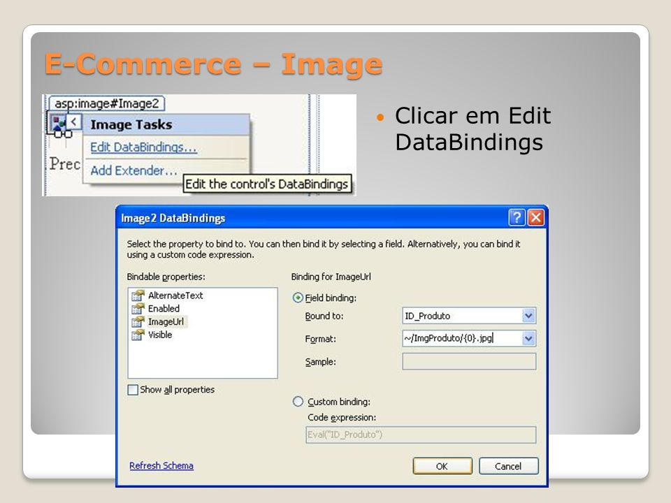 E-Commerce – Image Clicar em Edit DataBindings