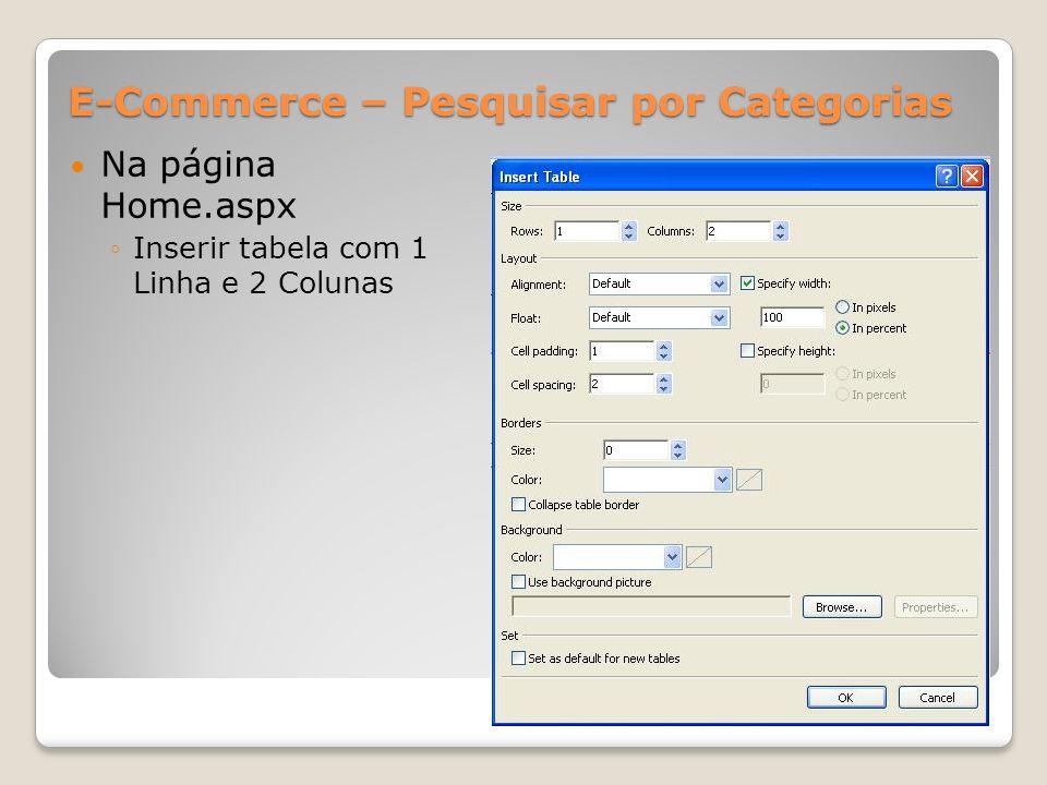 E-Commerce – Pesquisar por Categorias Na página Home.aspx Inserir tabela com 1 Linha e 2 Colunas