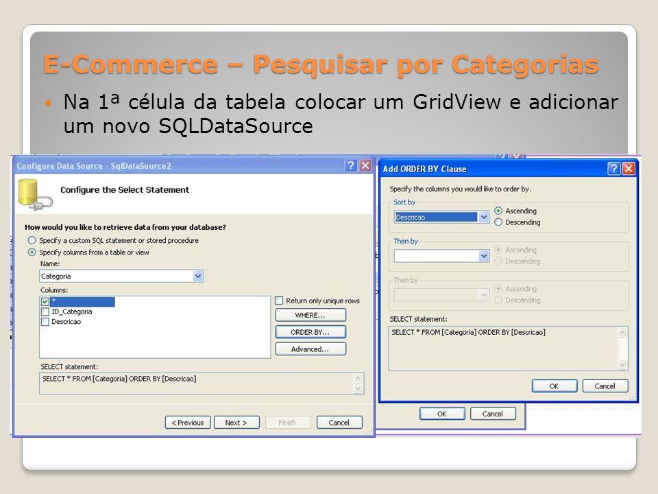 E-Commerce – Pesquisar por Categorias Na 1ª célula da tabela colocar um GridView e adicionar um novo SQLDataSource