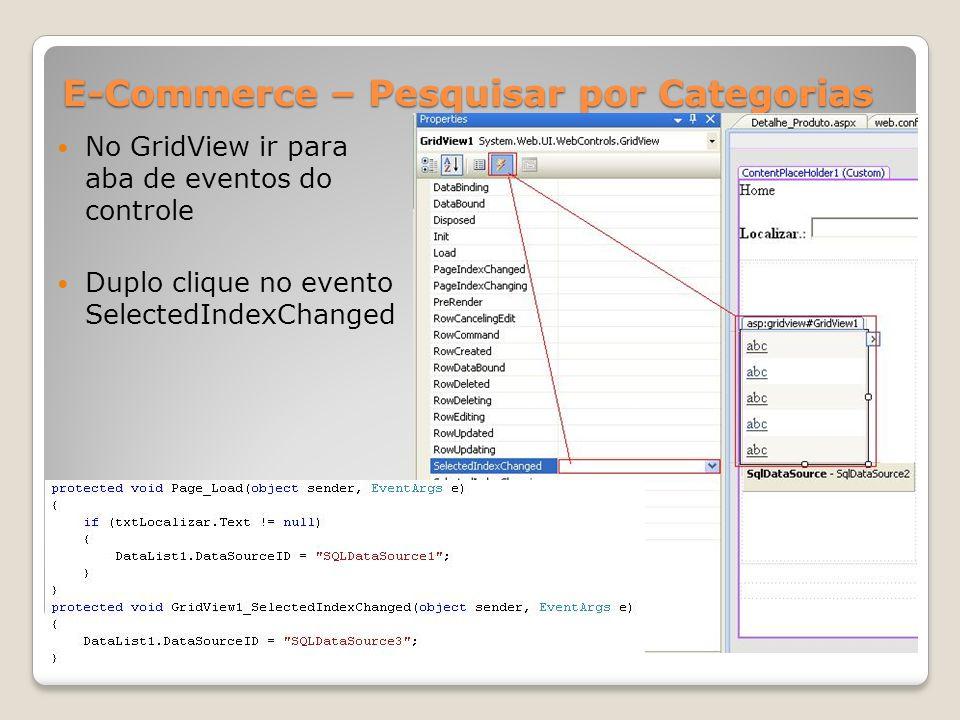 E-Commerce – Pesquisar por Categorias No GridView ir para aba de eventos do controle Duplo clique no evento SelectedIndexChanged