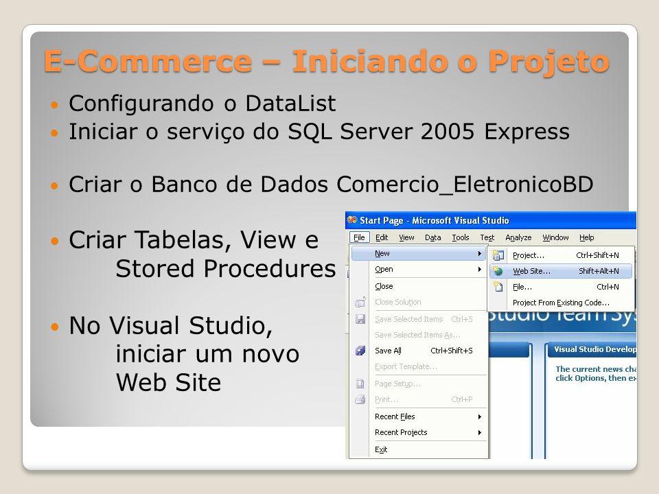 E-Commerce – Iniciando o Projeto Iniciar o serviço do SQL Server 2005 Express Criar o Banco de Dados Comercio_EletronicoBD Criar Tabelas, View e Store