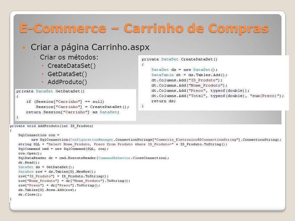 E-Commerce – Carrinho de Compras Criar a página Carrinho.aspx Criar os métodos: CreateDataSet() GetDataSet() AddProduto()