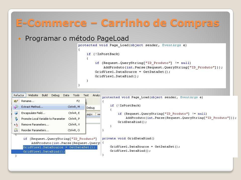 E-Commerce – Carrinho de Compras Programar o método PageLoad