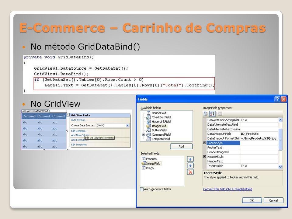 E-Commerce – Carrinho de Compras No método GridDataBind() No GridView