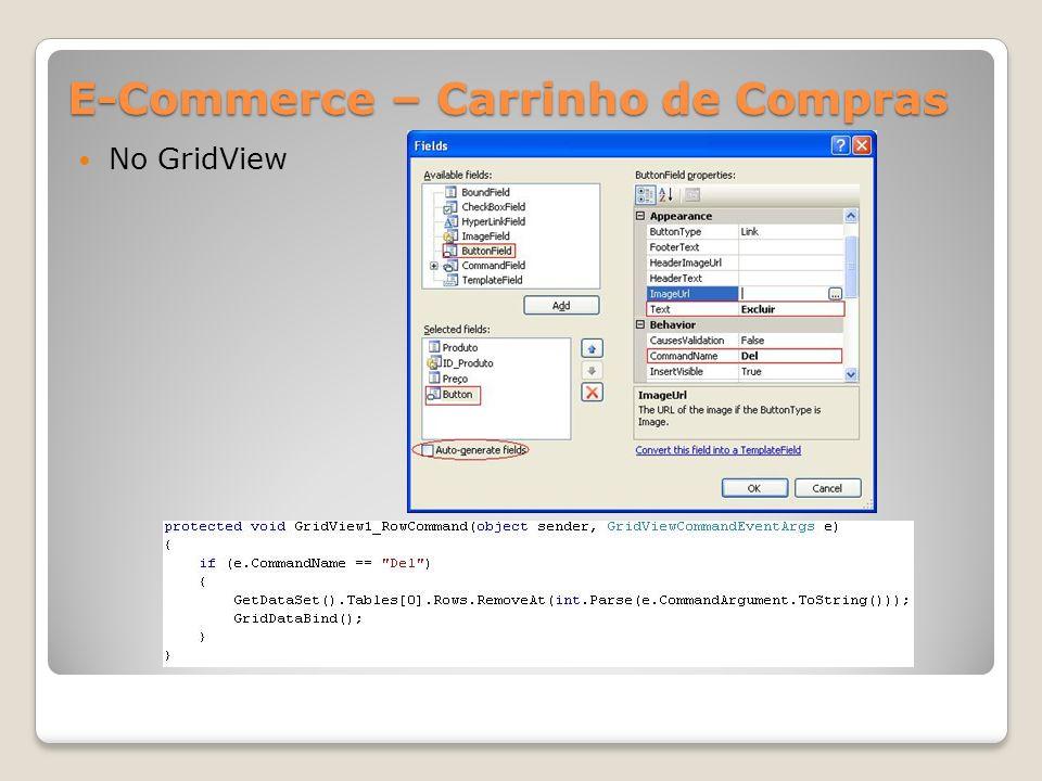 E-Commerce – Carrinho de Compras No GridView