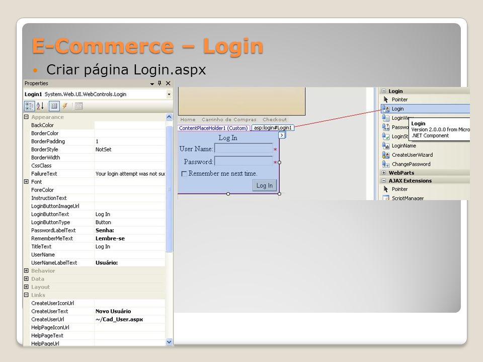 E-Commerce – Login Criar página Login.aspx