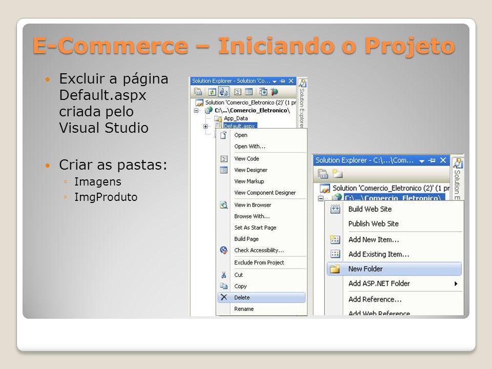 E-Commerce – Iniciando o Projeto Excluir a página Default.aspx criada pelo Visual Studio Criar as pastas: Imagens ImgProduto