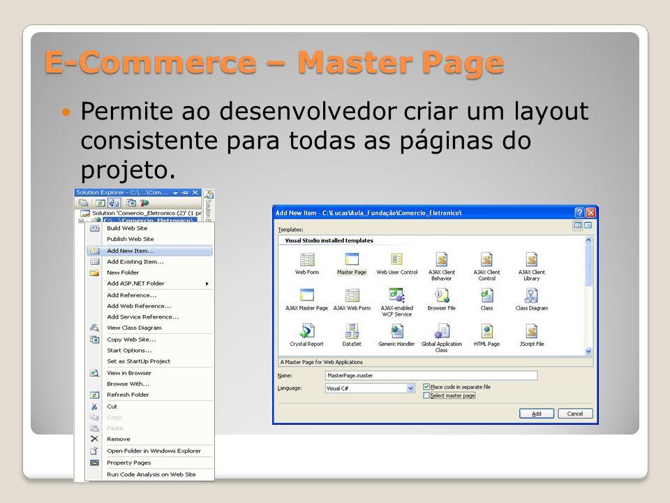 E-Commerce – Master Page Permite ao desenvolvedor criar um layout consistente para todas as páginas do projeto.