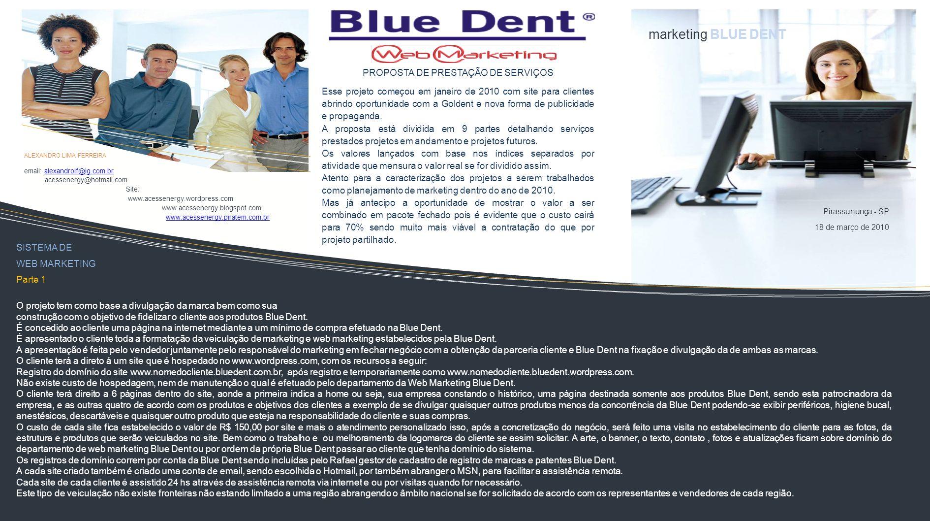 Elaboração de Divulgação do Sistema web marketing Blue Dent.