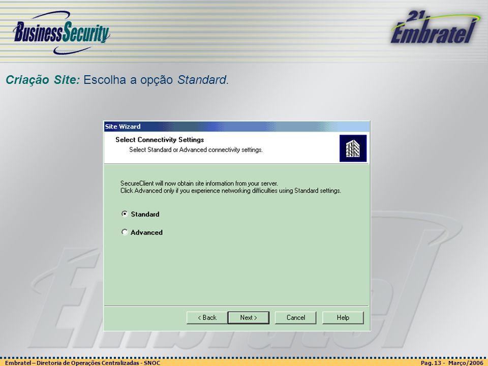 Pag. 13 - Março/2006 Embratel – Diretoria de Operações Centralizadas - SNOC Página 13 - março/2003 Embratel - Unidade Empresas - Confidencial Criação