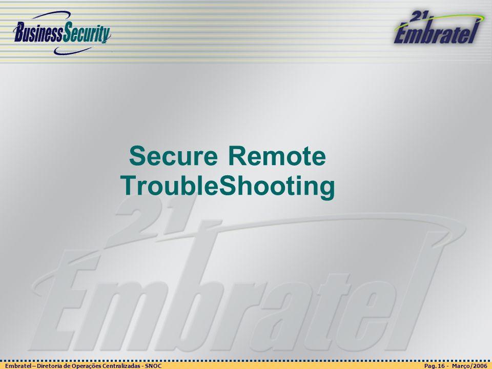 Pag. 16 - Março/2006 Embratel – Diretoria de Operações Centralizadas - SNOC Página 16 - março/2003 Embratel - Unidade Empresas - Confidencial Secure R