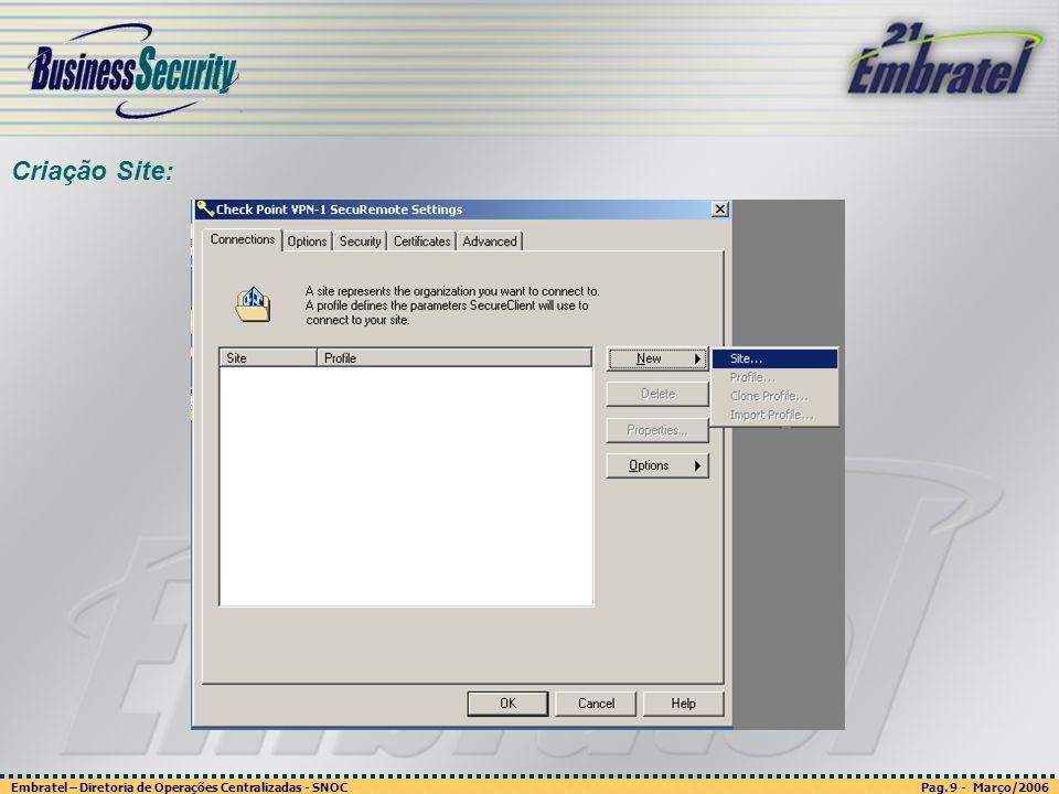 Pag. 9 - Março/2006 Embratel – Diretoria de Operações Centralizadas - SNOC Página 9 - março/2003 Embratel - Unidade Empresas - Confidencial Criação Si