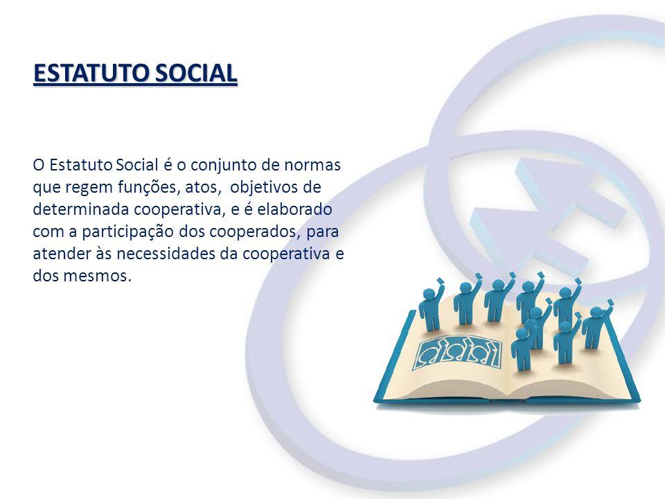 ESTATUTO SOCIAL ESTATUTO SOCIAL O Estatuto Social é o conjunto de normas que regem funções, atos, objetivos de determinada cooperativa, e é elaborado