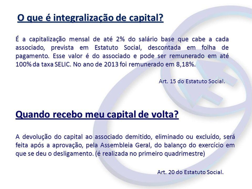 O que é integralização de capital? Quando recebo meu capital de volta? A devolução do capital ao associado demitido, eliminado ou excluído, será feita