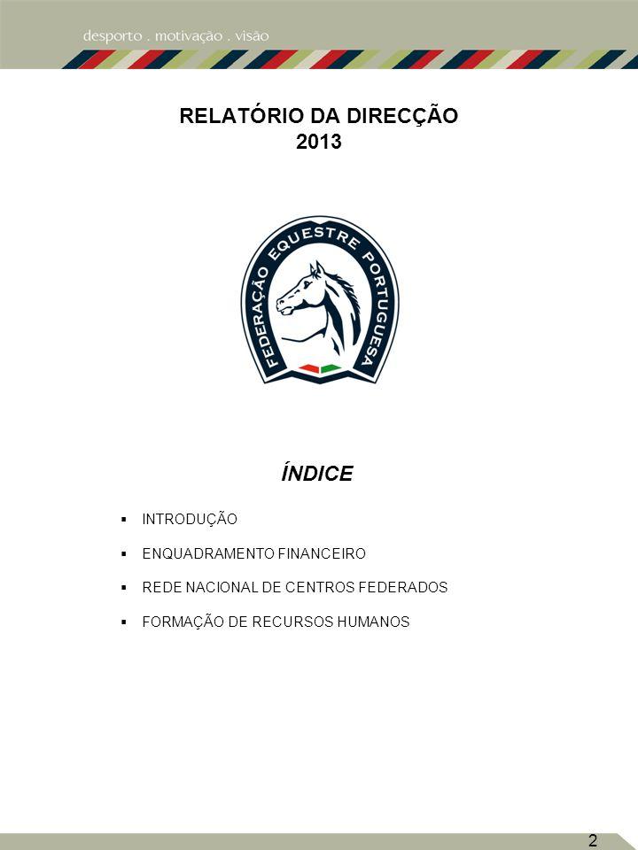 2 RELATÓRIO DA DIRECÇÃO 2013 INDICE ÍNDICE INTRODUÇÃO ENQUADRAMENTO FINANCEIRO REDE NACIONAL DE CENTROS FEDERADOS FORMAÇÃO DE RECURSOS HUMANOS