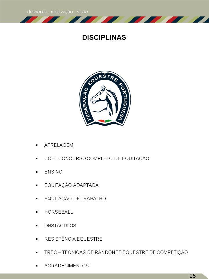 25 DISCIPLINAS ATRELAGEM CCE - CONCURSO COMPLETO DE EQUITAÇÃO ENSINO EQUITAÇÃO ADAPTADA EQUITAÇÃO DE TRABALHO HORSEBALL OBSTÁCULOS RESISTÊNCIA EQUESTRE TREC – TÉCNICAS DE RANDONÉE EQUESTRE DE COMPETIÇÃO AGRADECIMENTOS