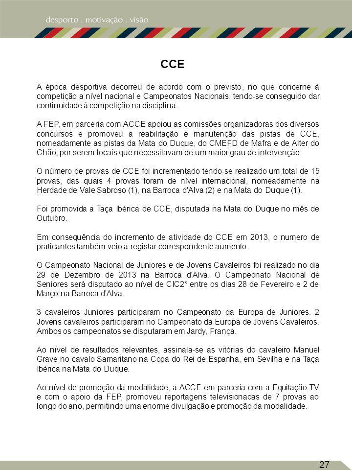 CCE 27 A época desportiva decorreu de acordo com o previsto, no que concerne à competição a nível nacional e Campeonatos Nacionais, tendo-se conseguido dar continuidade á competição na disciplina.