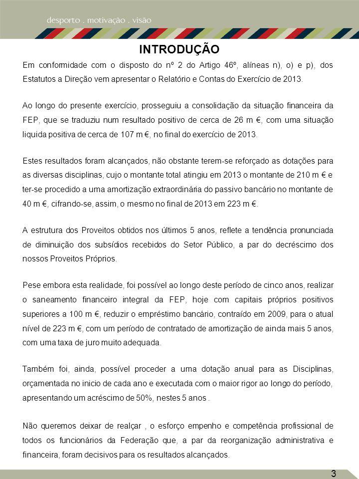 3 INTRODUÇÃO Em conformidade com o disposto do nº 2 do Artigo 46º, alíneas n), o) e p), dos Estatutos a Direção vem apresentar o Relatório e Contas do Exercício de 2013.