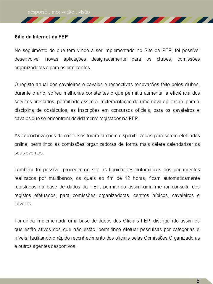 Sítio da Internet da FEP No seguimento do que tem vindo a ser implementado no Site da FEP, foi possível desenvolver novas aplicações designadamente para os clubes, comissões organizadoras e para os praticantes.