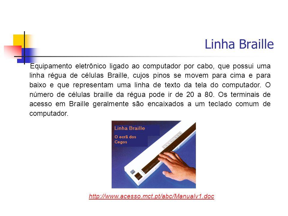 Equipamento eletrônico ligado ao computador por cabo, que possui uma linha régua de células Braille, cujos pinos se movem para cima e para baixo e que