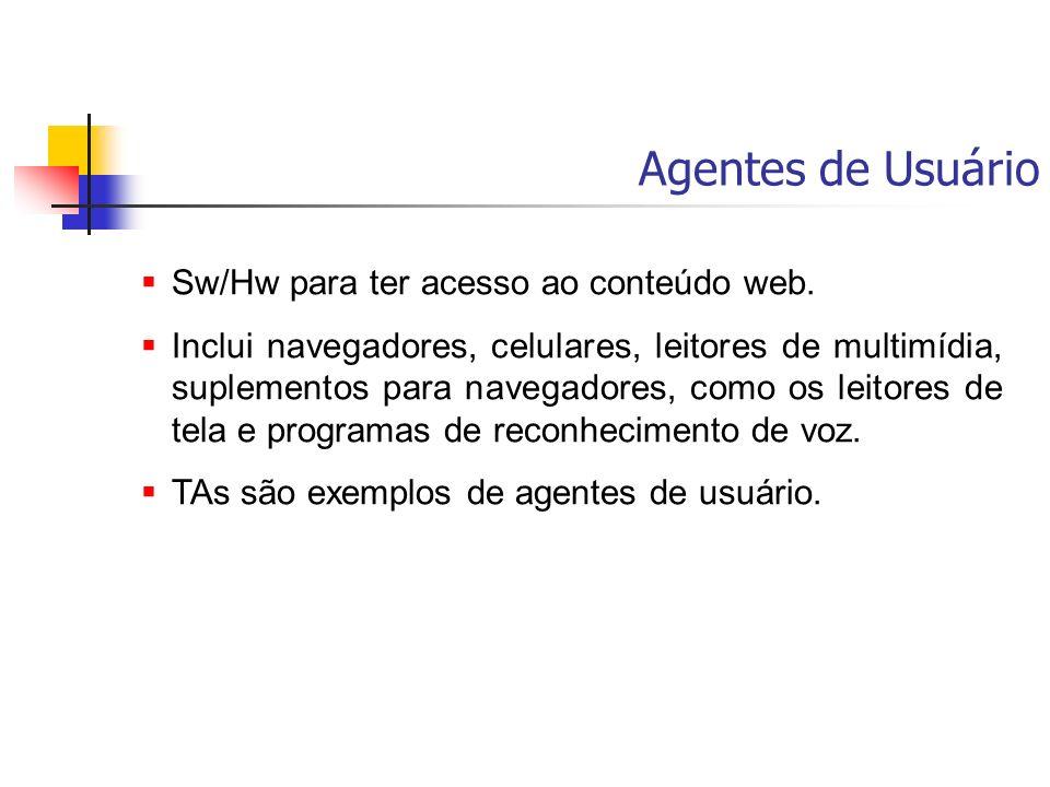 Agentes de Usuário Sw/Hw para ter acesso ao conteúdo web. Inclui navegadores, celulares, leitores de multimídia, suplementos para navegadores, como os