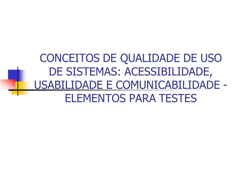 CONCEITOS DE QUALIDADE DE USO DE SISTEMAS: ACESSIBILIDADE, USABILIDADE E COMUNICABILIDADE - ELEMENTOS PARA TESTES
