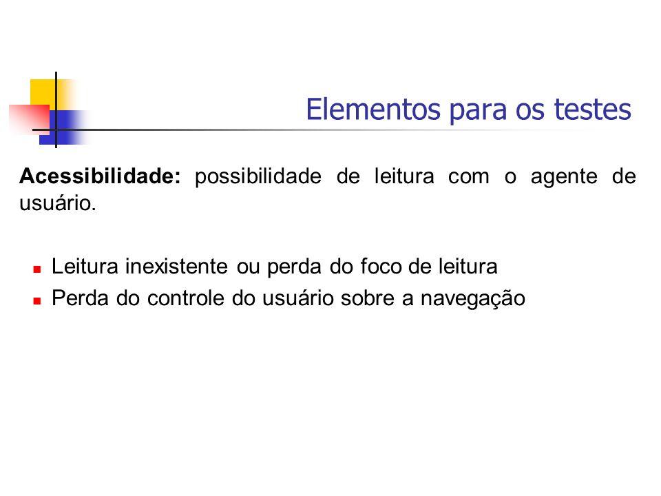 Elementos para os testes Acessibilidade: possibilidade de leitura com o agente de usuário. Leitura inexistente ou perda do foco de leitura Perda do co