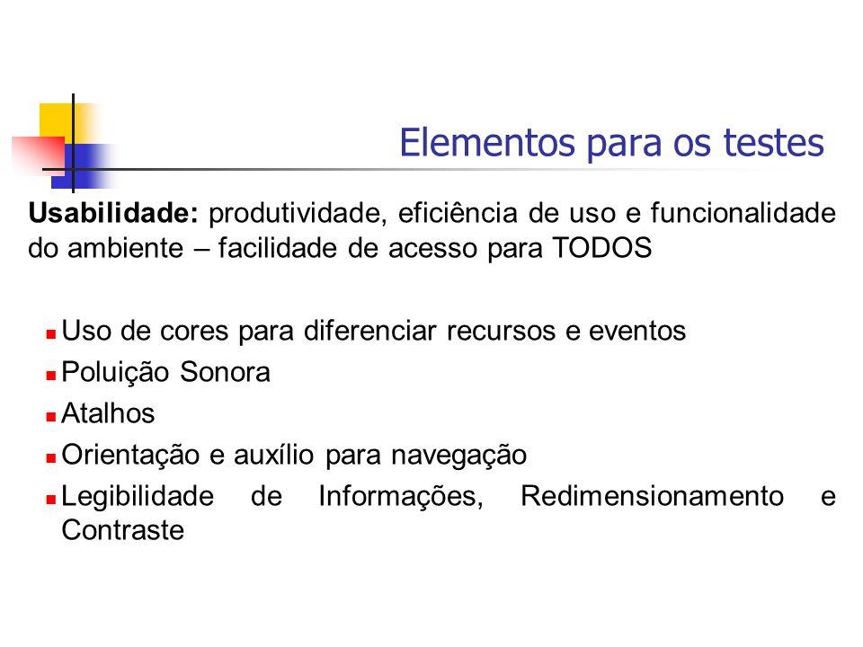 Elementos para os testes Usabilidade: produtividade, eficiência de uso e funcionalidade do ambiente – facilidade de acesso para TODOS Uso de cores par