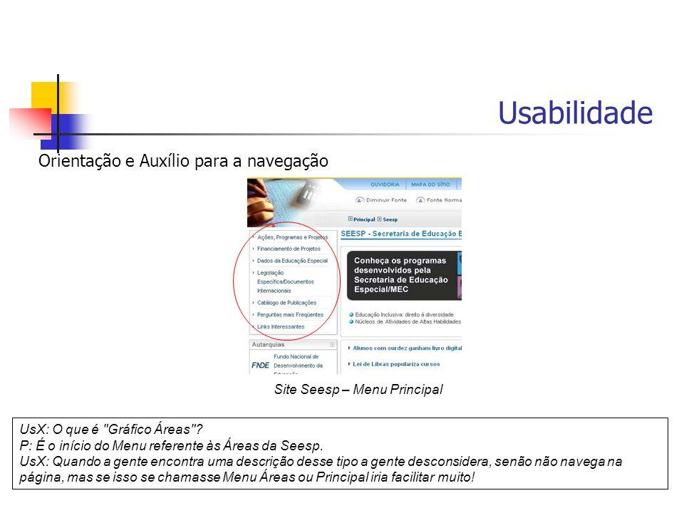 Usabilidade Orientação e Auxílio para a navegação UsX: O que é