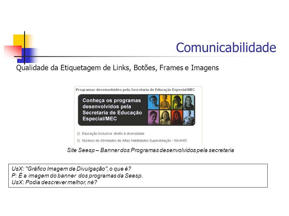 Comunicabilidade Qualidade da Etiquetagem de Links, Botões, Frames e Imagens UsX: