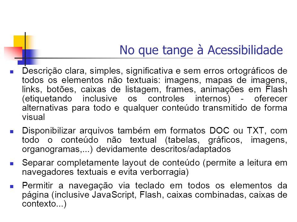 Descrição clara, simples, significativa e sem erros ortográficos de todos os elementos não textuais: imagens, mapas de imagens, links, botões, caixas
