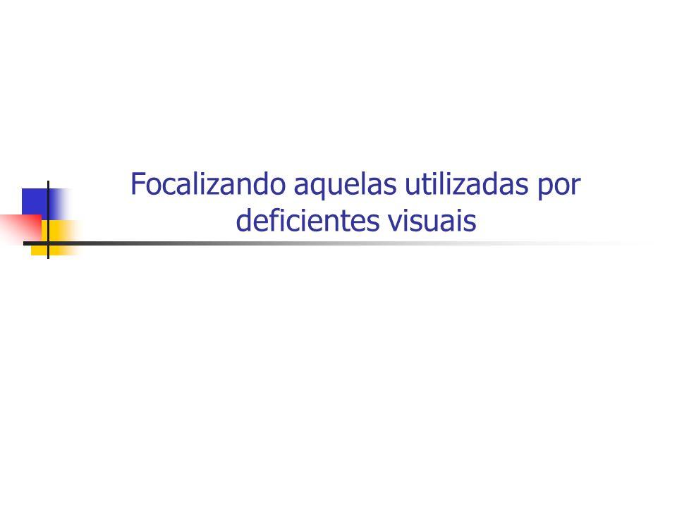 Focalizando aquelas utilizadas por deficientes visuais