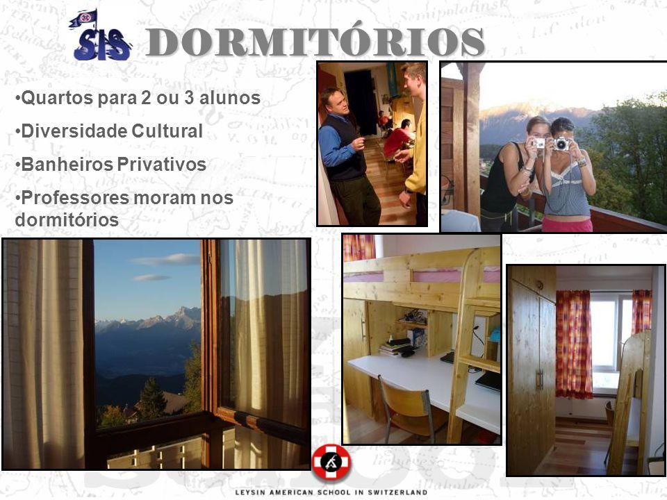 DORMITÓRIOS Quartos para 2 ou 3 alunos Diversidade Cultural Banheiros Privativos Professores moram nos dormitórios