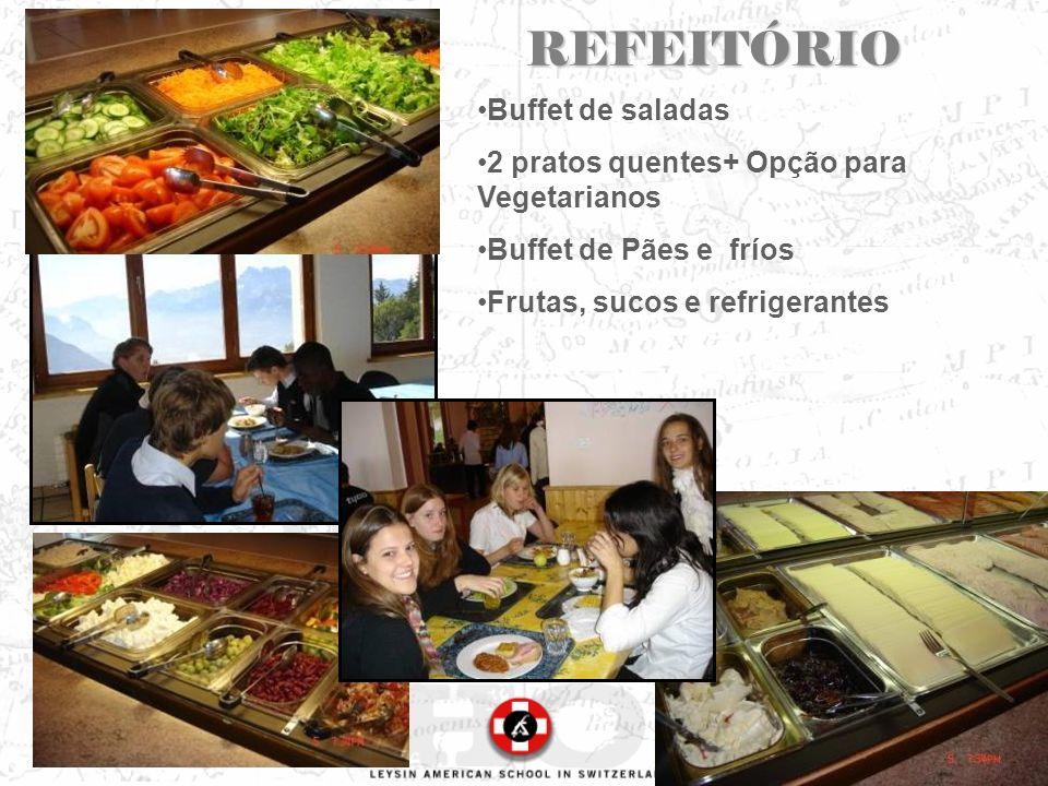 REFEITÓRIO Buffet de saladas 2 pratos quentes+ Opção para Vegetarianos Buffet de Pães e fríos Frutas, sucos e refrigerantes